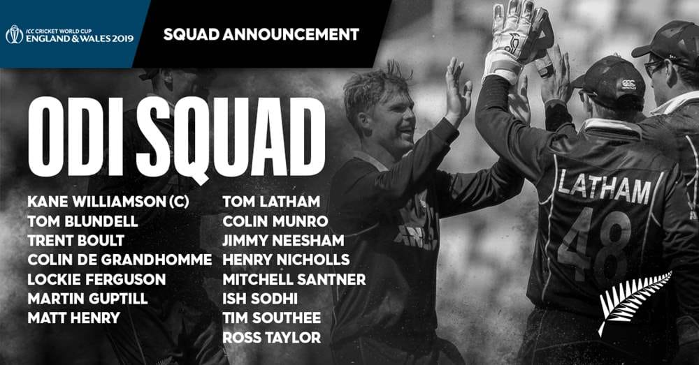 cwc fb squad - Cricket World Cup 2019: Black Caps first to name 15-man squad