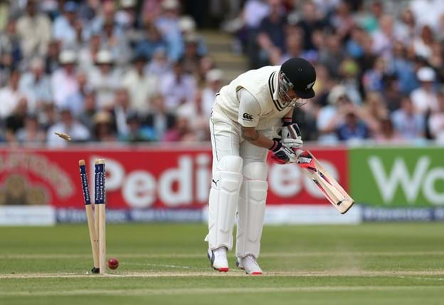 Brendon McCullum was undone by a beauty from Ben Stokes first ball
